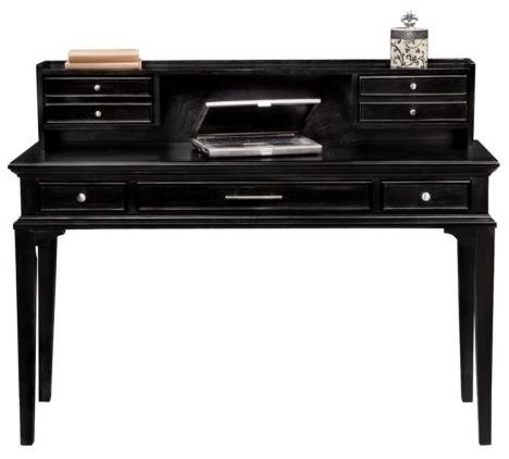 A simple black desk is perfect for any home.
