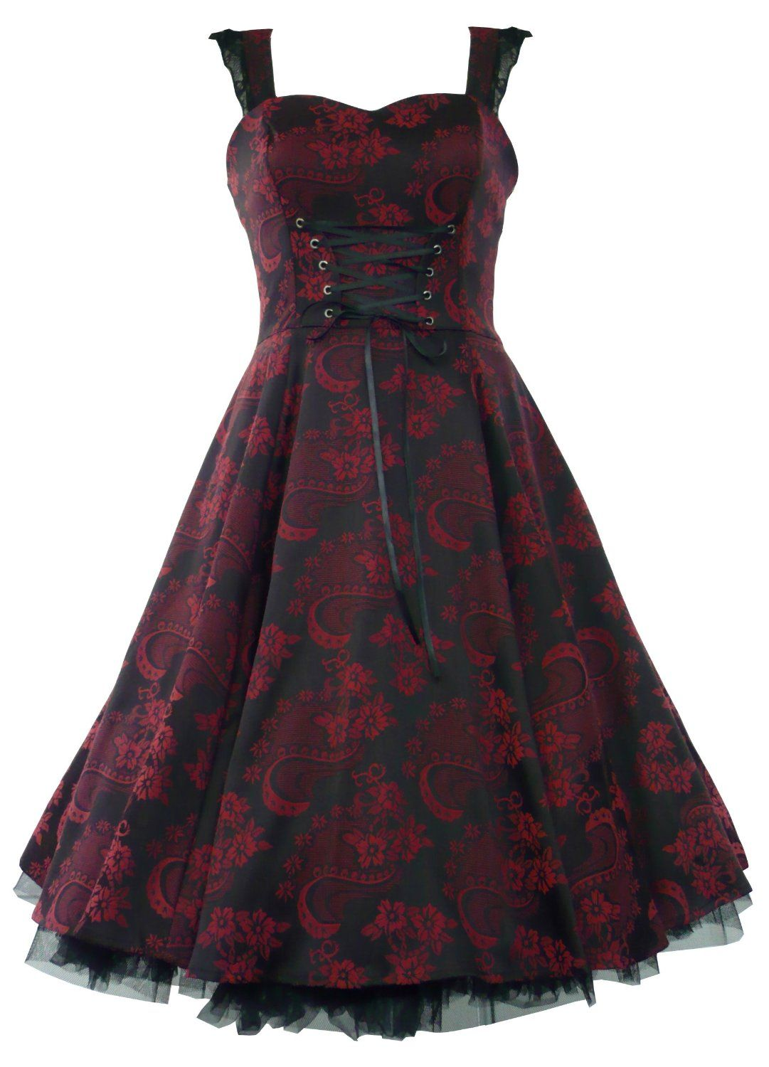 50's Brocade Floral Party Prom Dress Black Red - Size UK 8-18