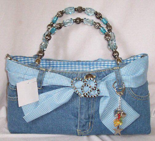 Bolsa hecha con pantalón de mezclilla | Bolsos de jeans ...