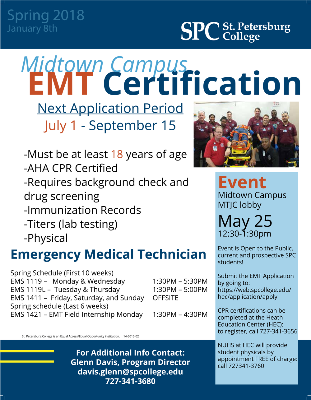 Interested in becoming an #EMT? Learn more May 25 at SPC