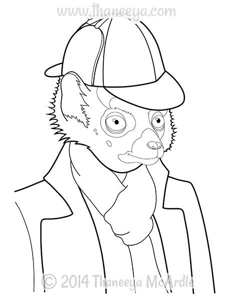 Dapper Animals Lemur Coloring Page By Thaneeya Adult Coloring