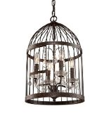 """Whimsical """"birdcage"""" with mini crystal chandelier inside. Comes larger as well."""