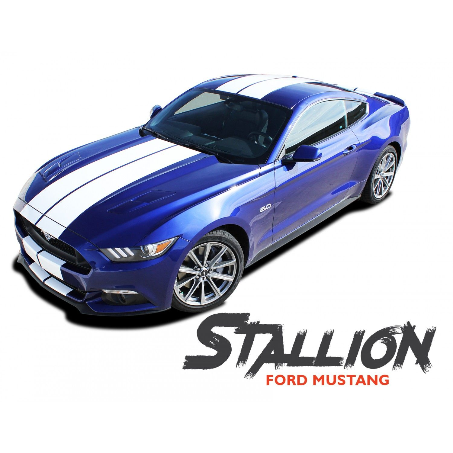 Ford Mustang Stallion Lemans Style 10 Inch Wide Racing Rally Stripes Vinyl Graphics Decals Kit 2015 2016 2017 Rally Stripes Vinyl Graphics Ford Mustang