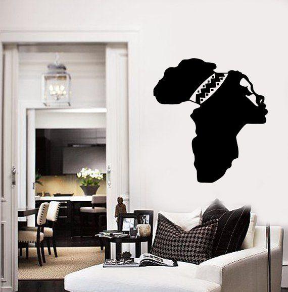 african vinyl wall decal female face map africa woman decor art