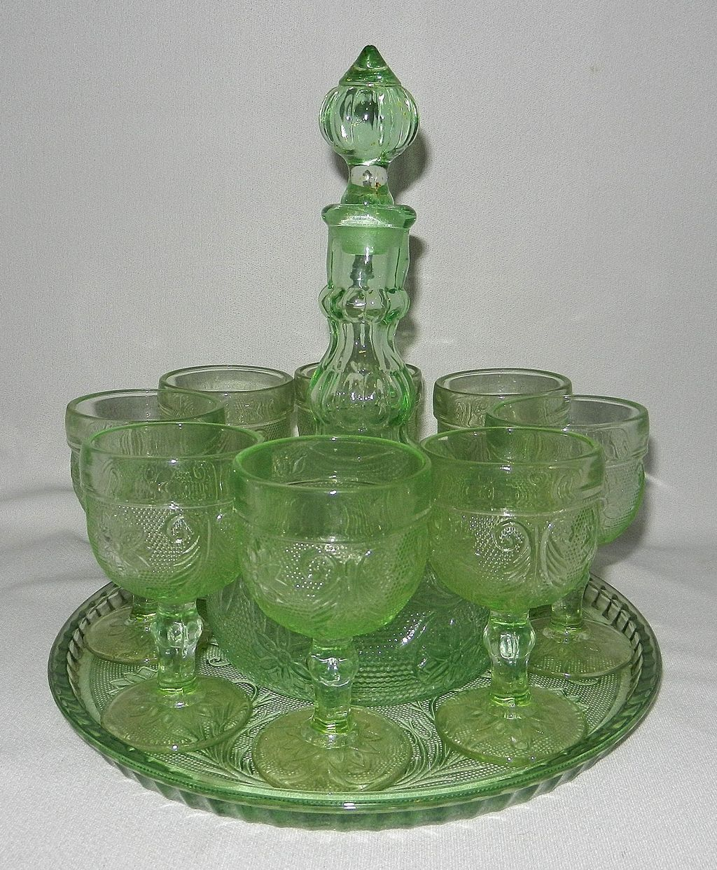 Vintage Tiara Indiana Sandwich Glass Chantilly Green Decanter and ...