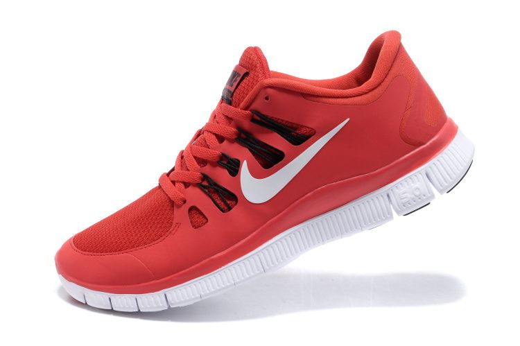 Challenge Red White Black Nike Free 5.0 Men's Running Shoes .nice red shoes  cheap sale