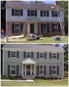 Image Result For Half Brick Half Siding Colonial House Paint Exterior Colonial House Exteriors Colonial Exterior