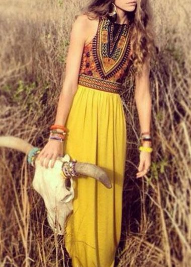 8e0a430a9d38 Totem Print Sleeveless Yellow Chiffon Maxi Dress | Prom | Pinterest ...