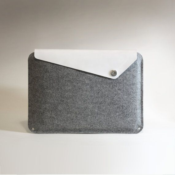 """New - Macbook Pro sleeve - White Leather with Wool Felt (13"""", 15"""" or 17"""") - charbonize"""