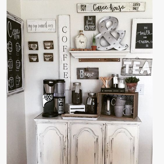 9+ DIY Coffee Bar Ideas And Inspiration at Home Decoration | Kitchen ...