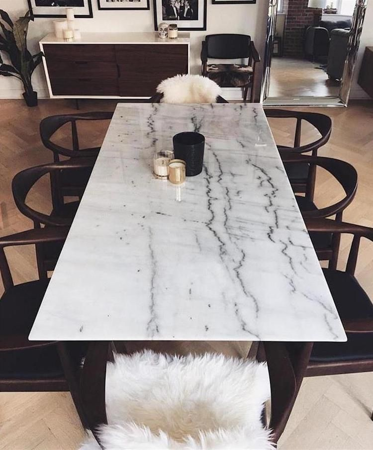 Avia Modern Classic Mid Century Black Brown Armchair With White Marble Table Via Kathy Kuo In 2020 Dining Table Marble Dining Room Table Marble Marble Dining