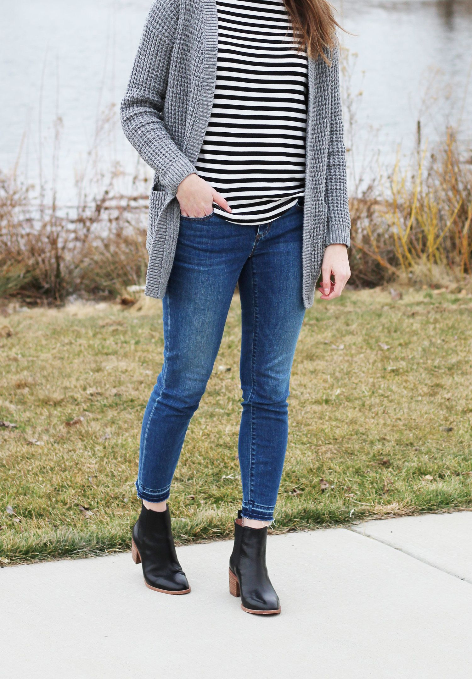 Madewell Frankie chelsea boots outfit with grey cardigan and stripes c4e383b01