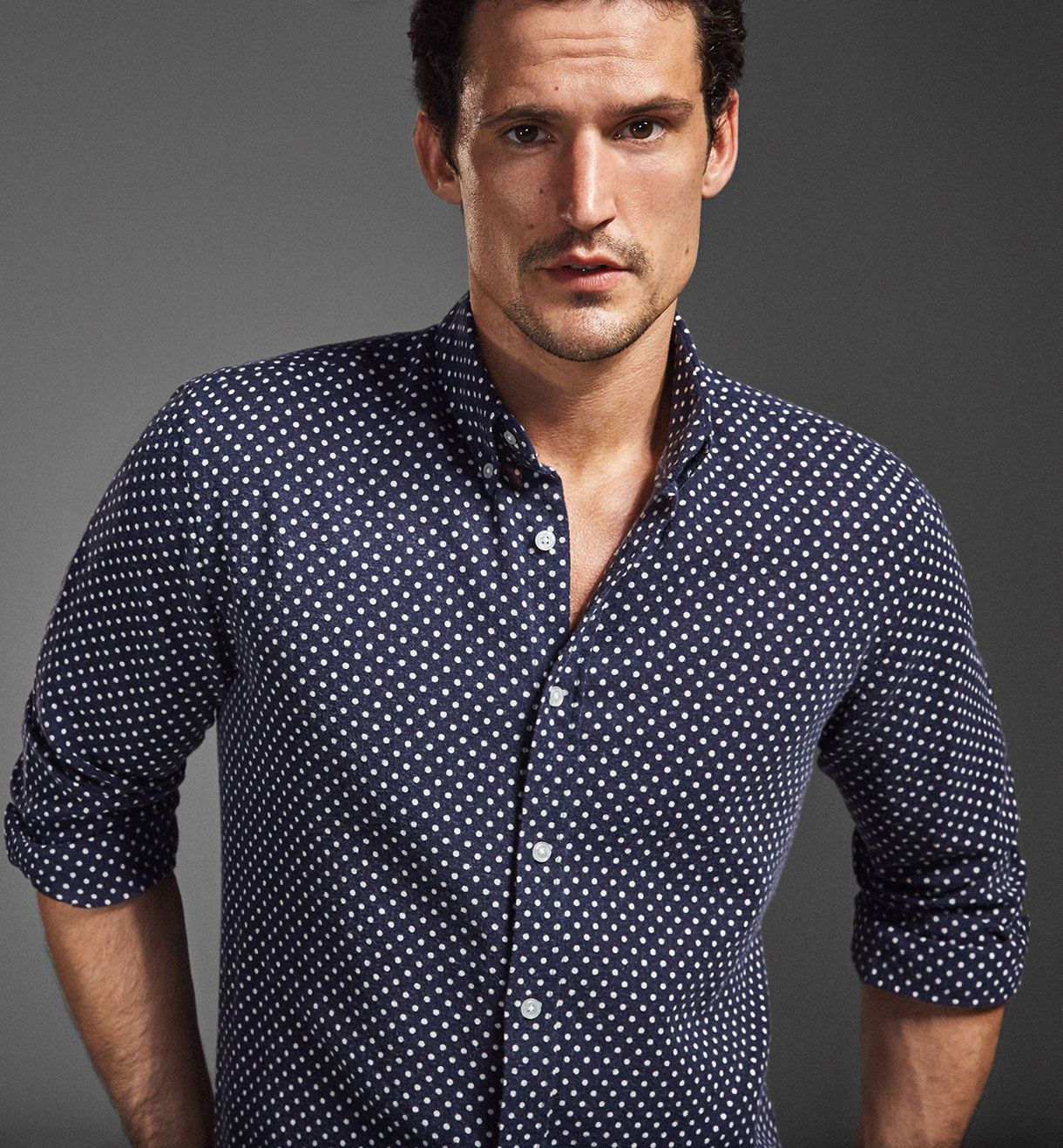 LIMITED EDITION BLUE SHIRT WITH POLKA DOT DETAILS ba8b551a7be9