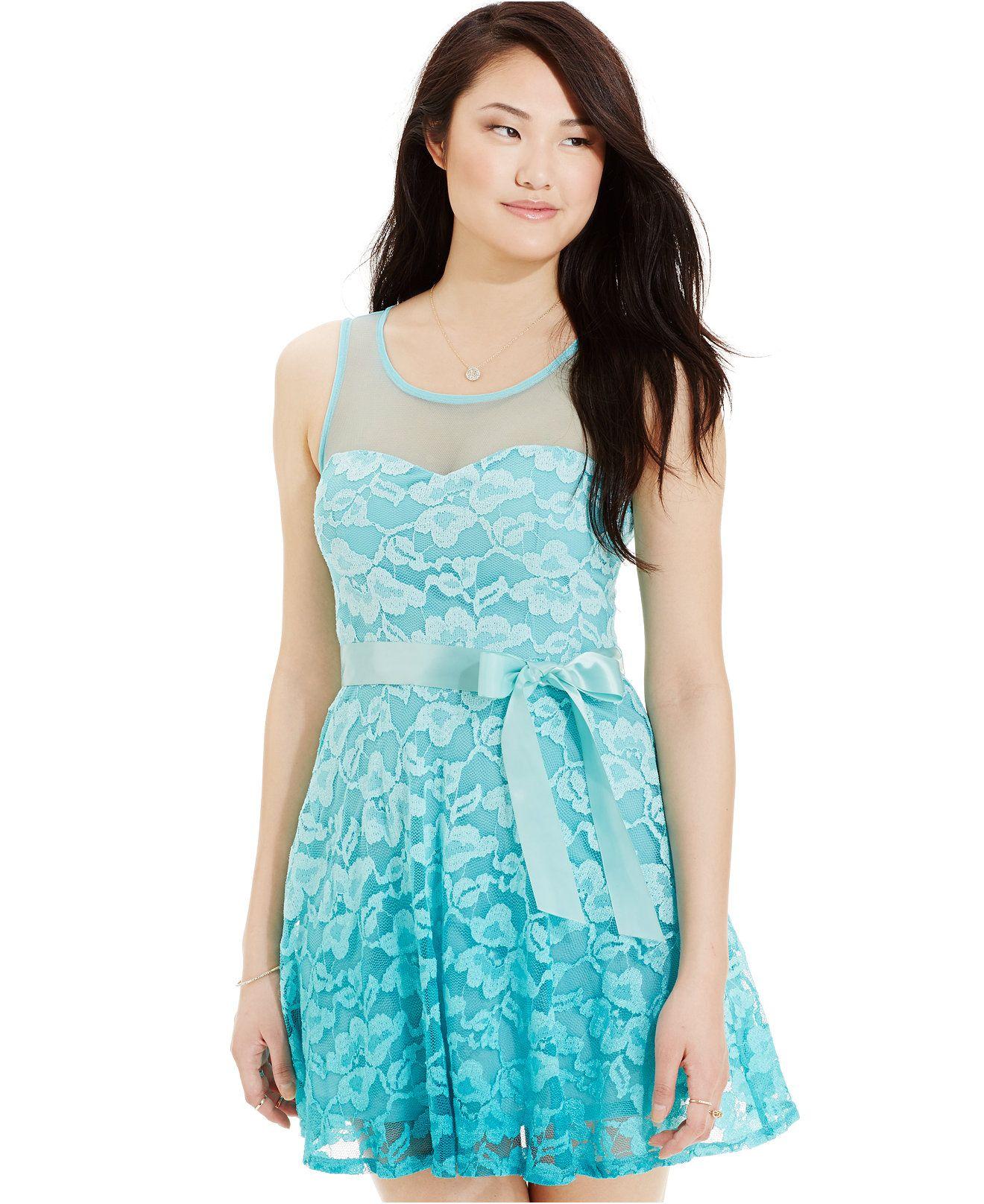 As u wish juniorsu ombre lace fitandflare dress juniors dresses