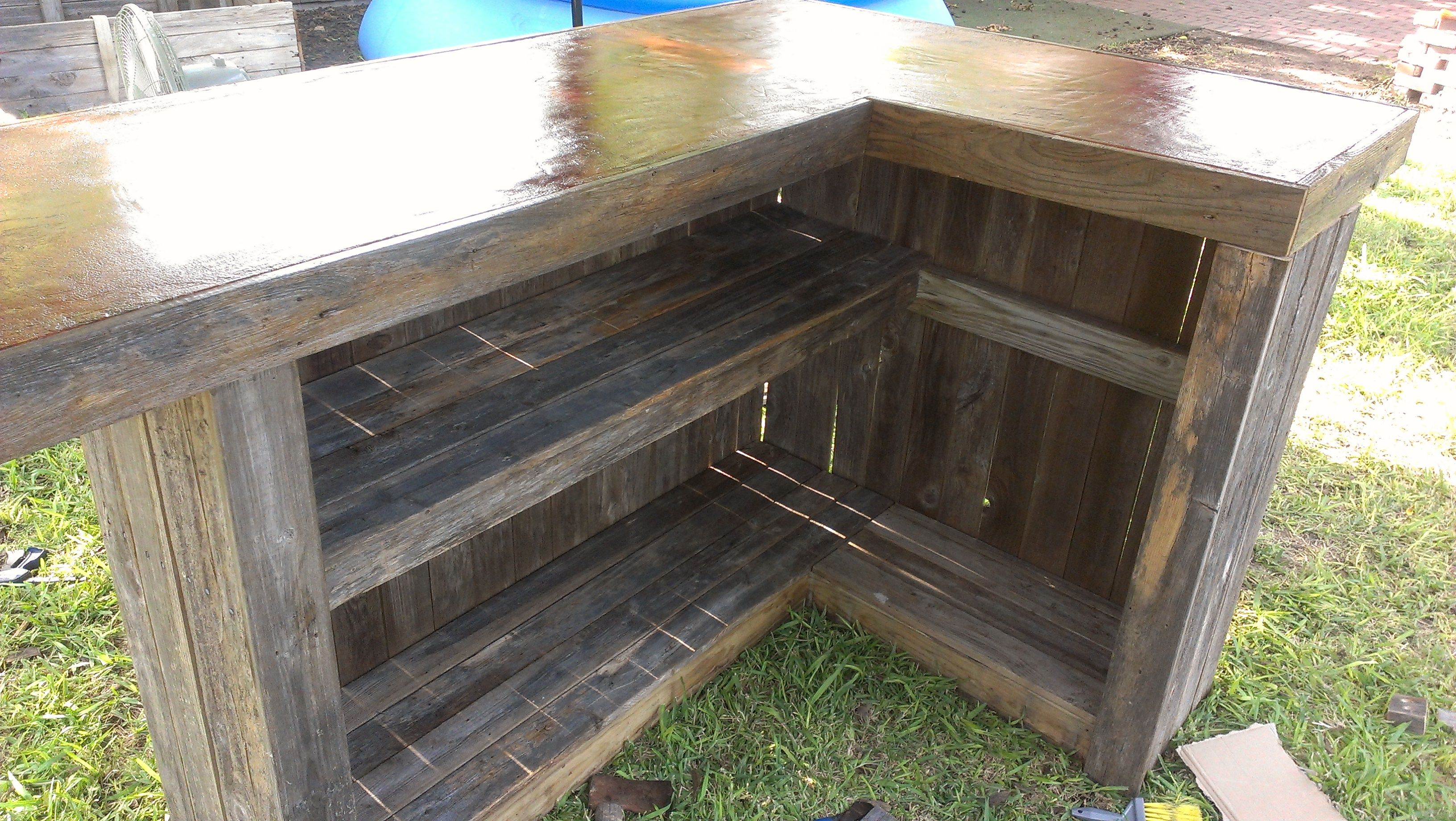 L Shaped Outdoor Bars Shaped Wood Bar With Concrete Top L