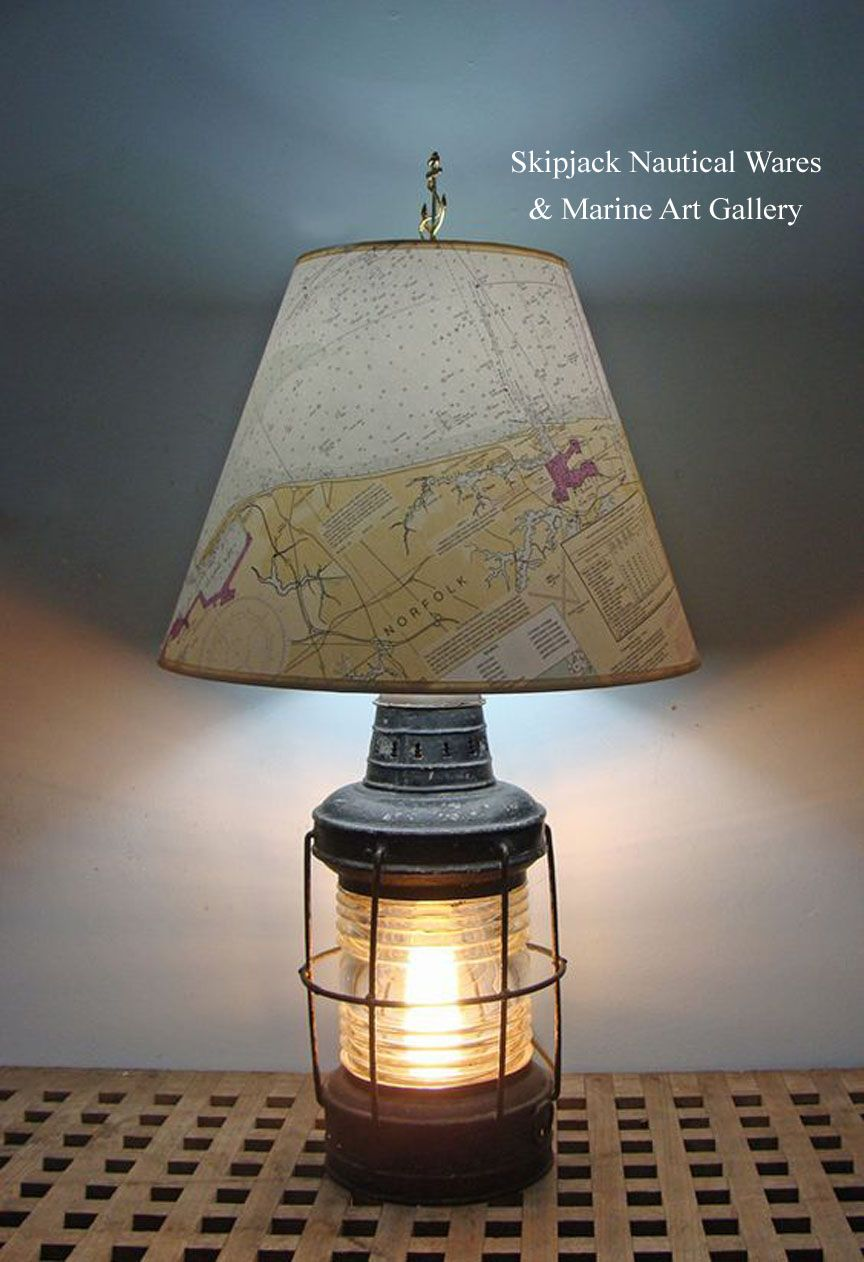 This Exceptional Nautical Table Lamps Was Produced Using An Antique Ships Anchor Lantern At Skipjack S Lamp Studio The Navi Nautical Lamps Nautical Table Lamp
