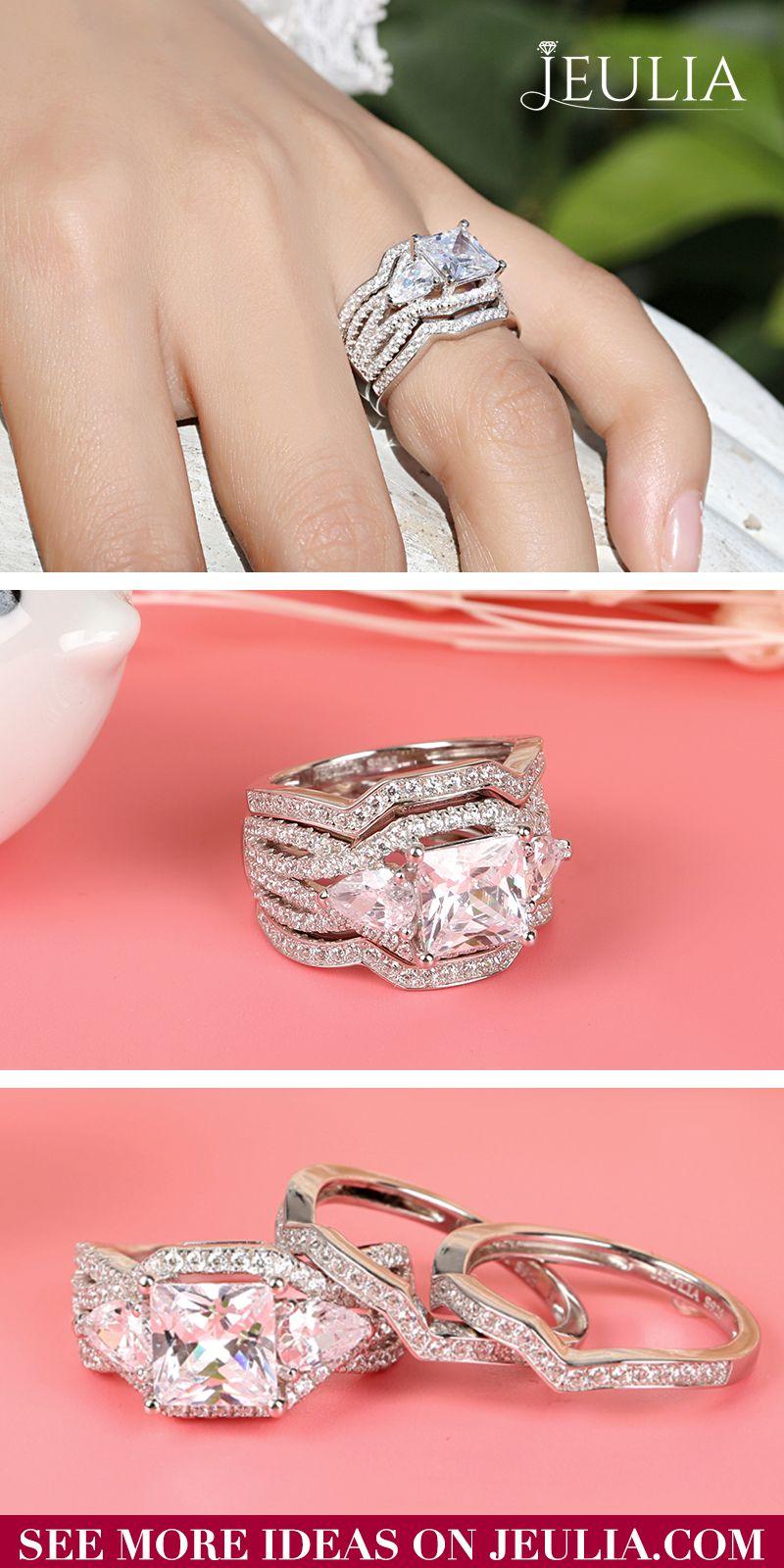 Three Stone Princess Cut Sterling Silver Ring Set | Pinterest ...
