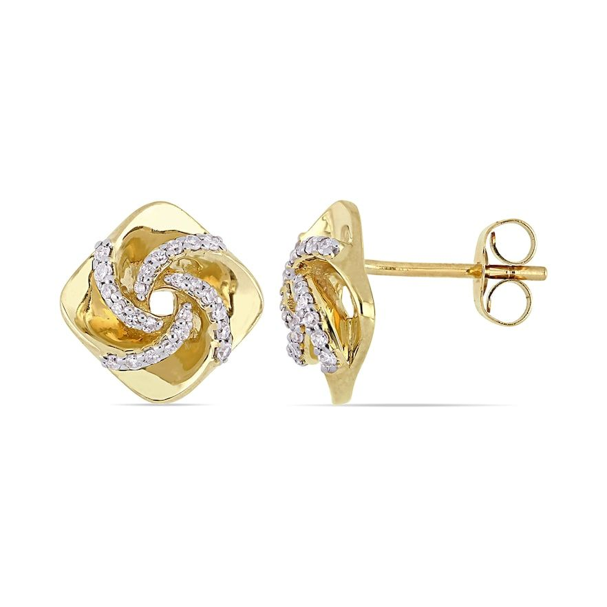 Stella Grace 10k Gold 1 5 Carat T W Diamond Swirl Stud Earrings In 2020 Diamond Swirl Stud Earrings Swirl Earrings