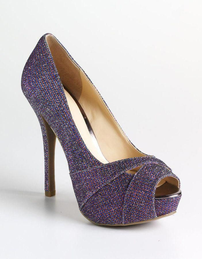 Nude Sparkle Peep Toe 3 Prom Shoes