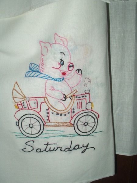 The Gatherings Antique Vintage   Vintage 1940s 1950s Day Of Week Embroidery Pig  Dish Towels,