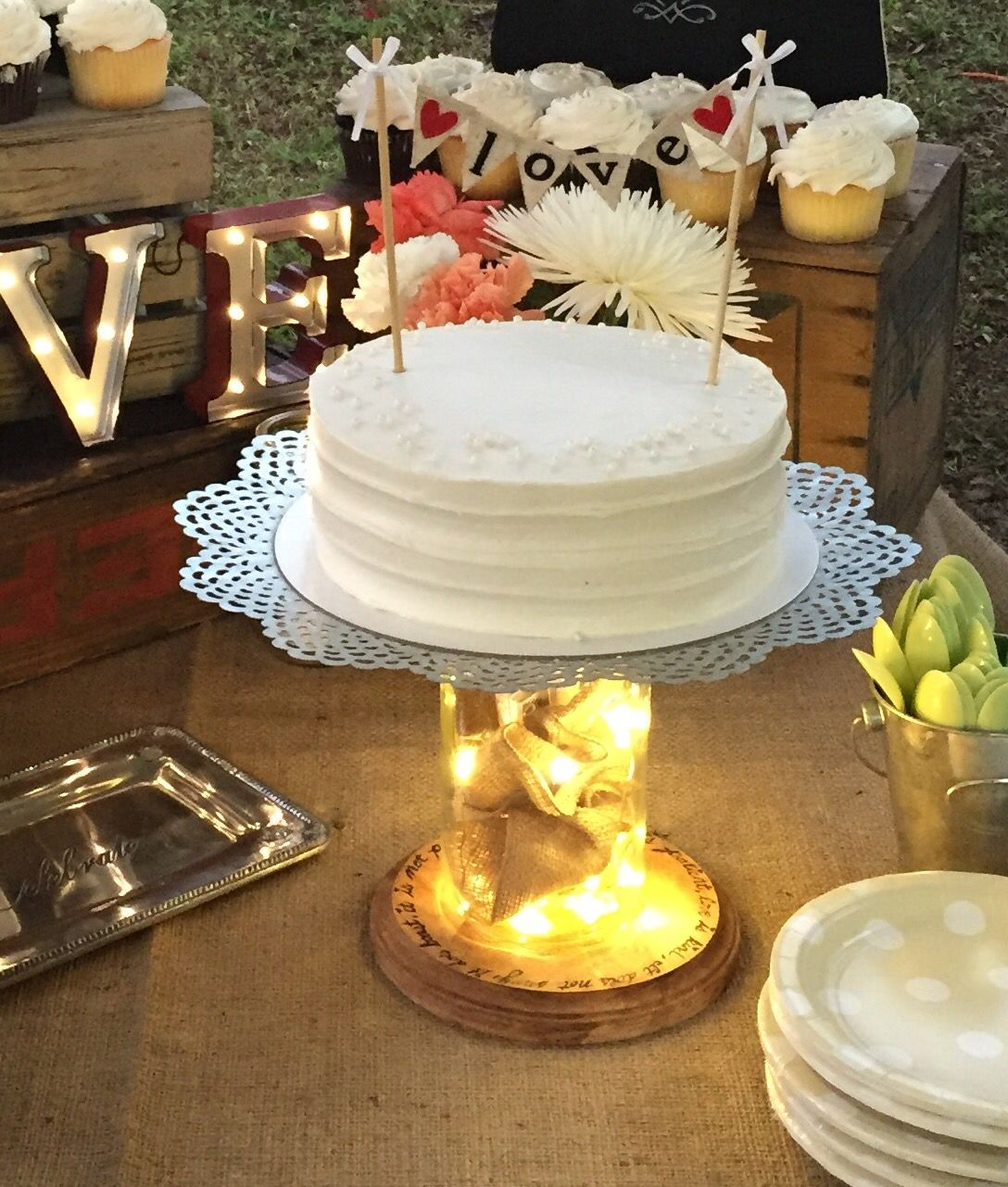 Diy cake stand my sister used a large mason jar a wooden