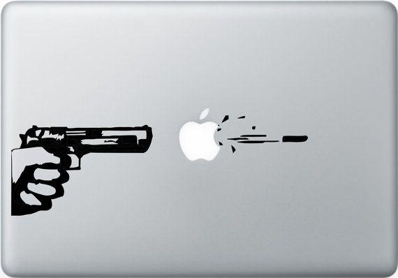 Gun - Mac Decal Macbook Stickers Macbook Decals Apple Decal for Macbook Pro / Macbook Air / iPad / iPad2