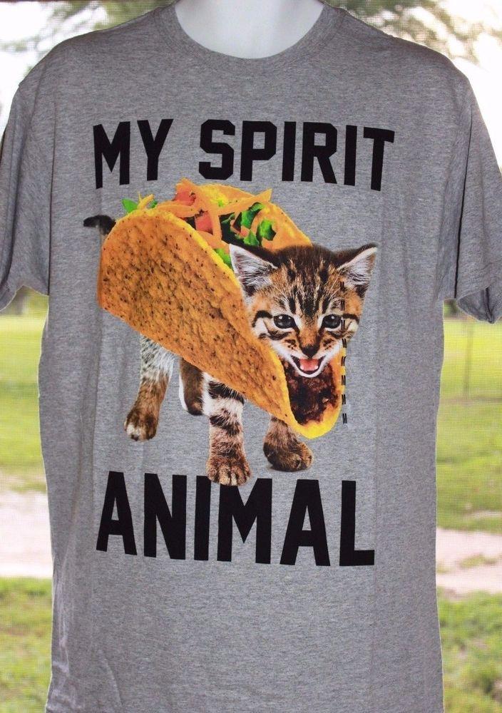 359dec22 My Spirit Animal Taco Cat Funny M Tee Shirt T-Shirt Gray Walnut & 39th NWT  AL #Walnut39th #GraphicTee