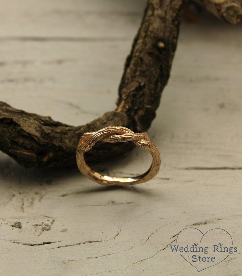 Braided branch wedding band Tree wedding band in rose gold | Etsy