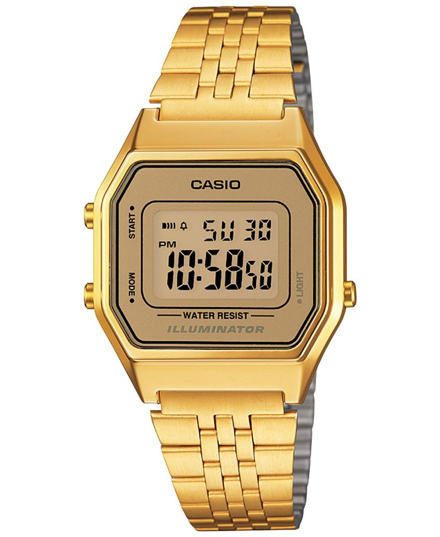Casio womenus digital vintage goldtone stainless steel bracelet