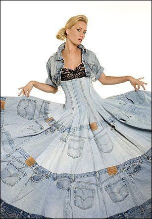 Designer Gary Harvey created this amazing dress by recycling old Levis denims.  Am I supposed to know who Gary Harvey is?  And is he to be found on Wanted Posters for what he did here?