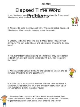 This worksheet includes word problems related to elapsed time ...