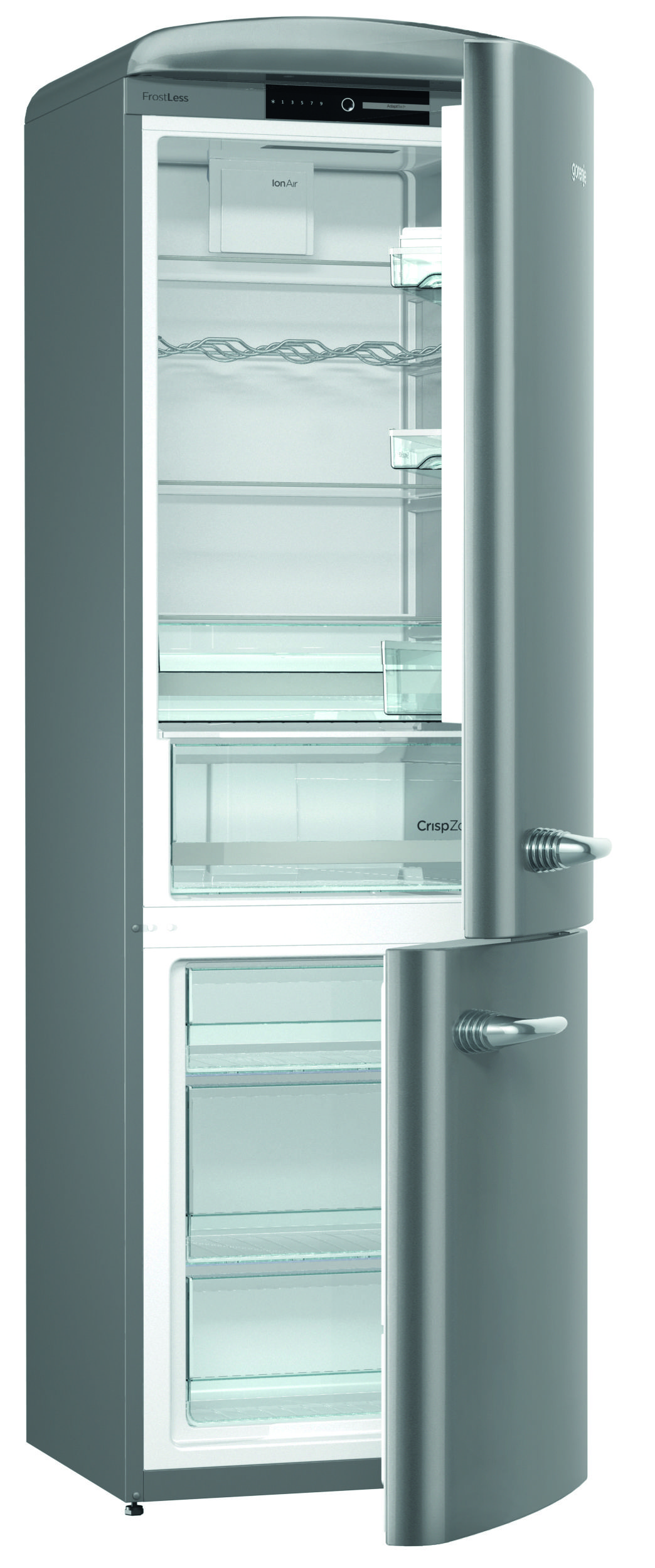 Gorenje Retro ORK193X Fridge Freezer - Silver - cut out open door ...