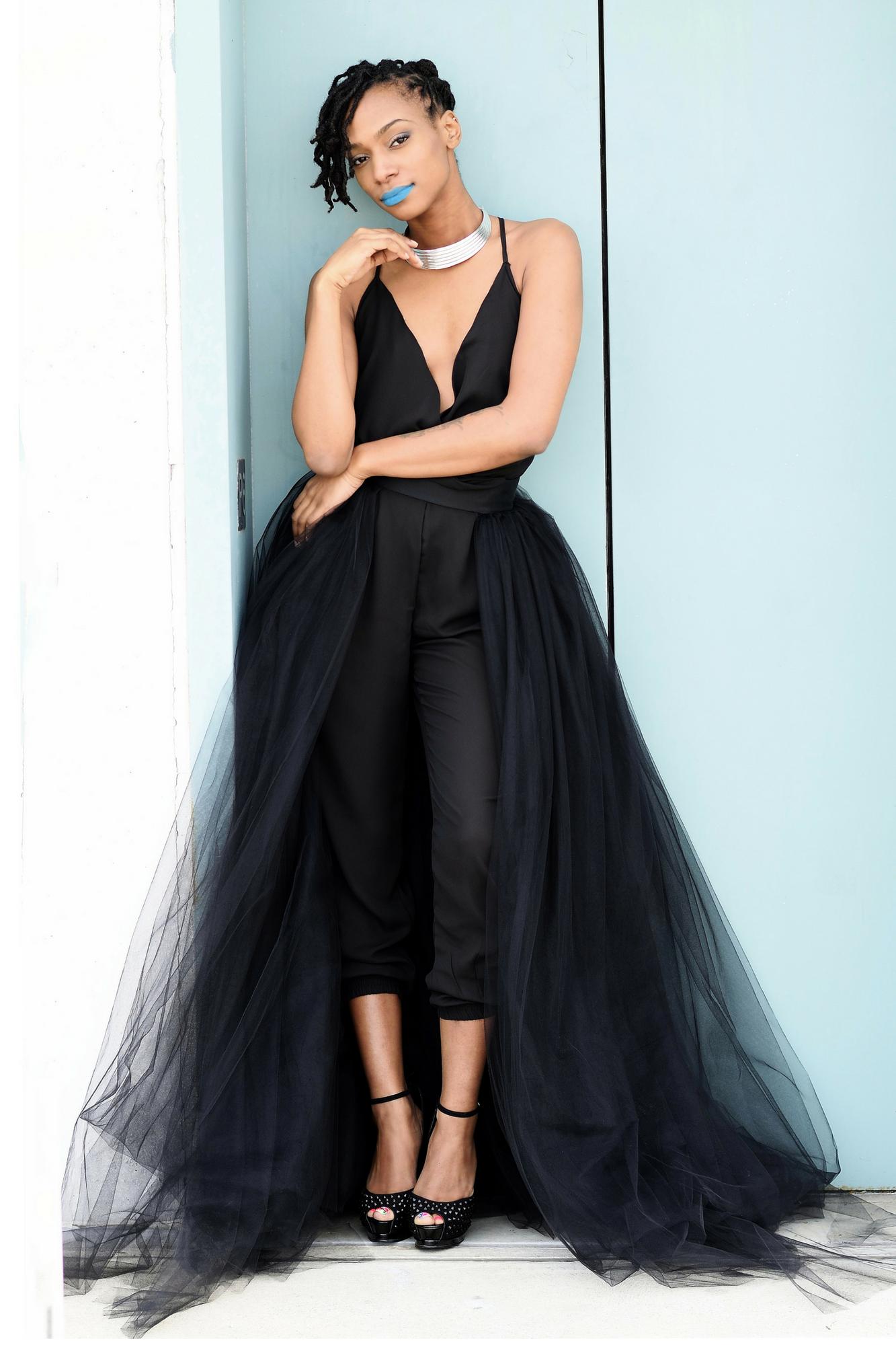Black Tulle Overskirt tulle overlay skirt, detachable