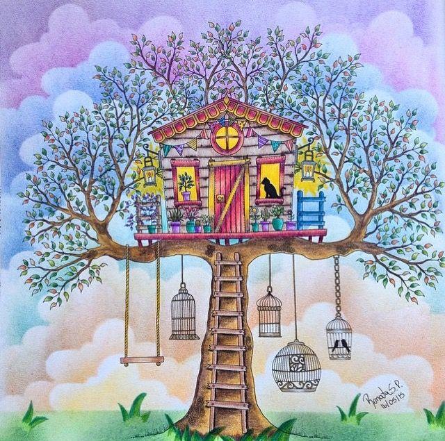 Treehouse Secret Garden Casa Da Arvore Jardim Secreto Johanna Basford Again Dont Like The Birds In Cages