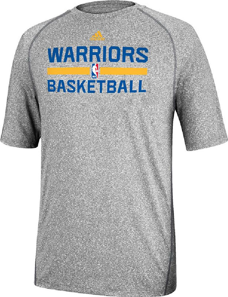 competitive price 5220e 19ca1 Golden State Warriors Grey Climalite Practice Short Sleeve Shirt by Adidas   31.95