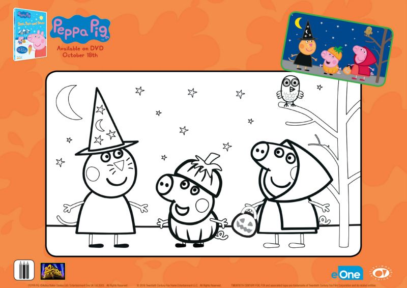 Peppa Pig Halloween Activity Page Printable Coloring Pages Crafts