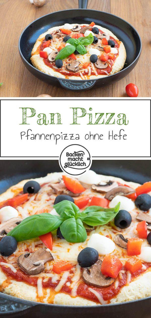 Amerikanische Pan Pizza: Pfannenpizza ohne Hefe