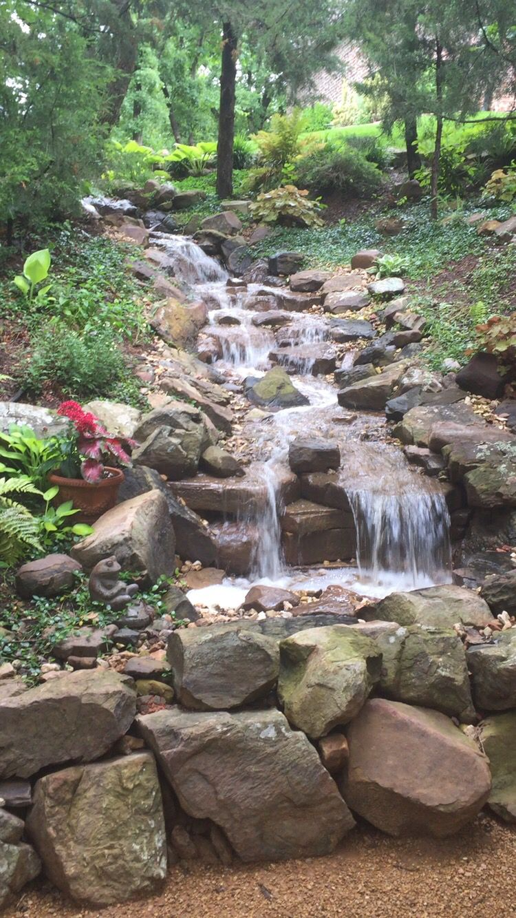 Pond less waterfall in our backyard ravine ravine for Pond features and fountains