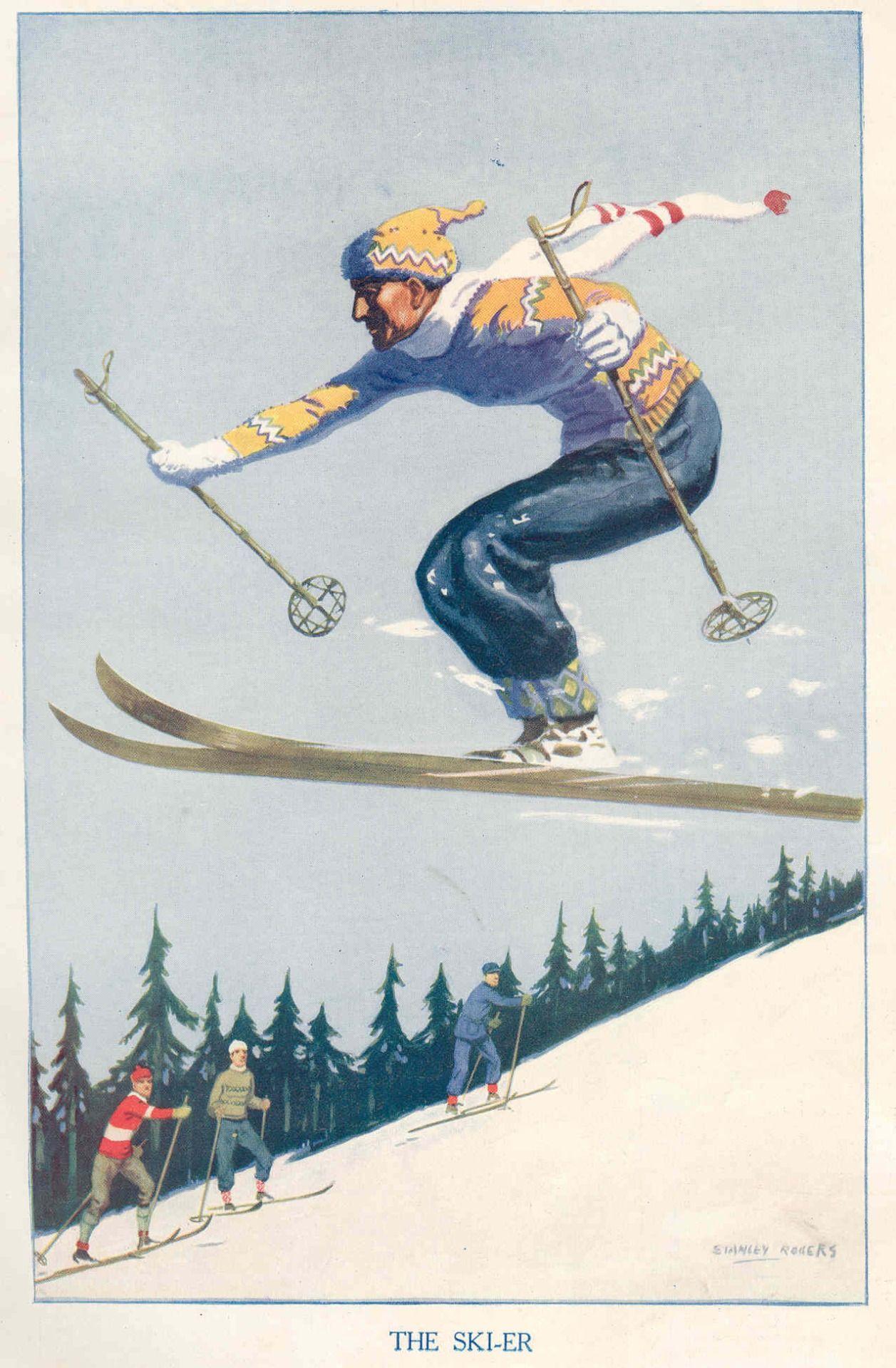 Открытка лыжника, покровом