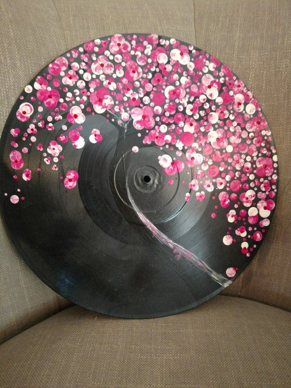 Acrylic Record Painting In 2019 Painting Vinyl Art