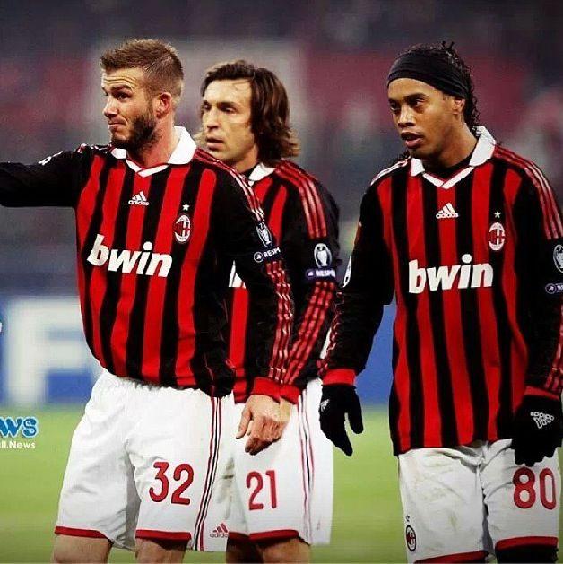 Andrea Pirlo David Beckham And Ronaldinho Ac Milan Ronaldinho