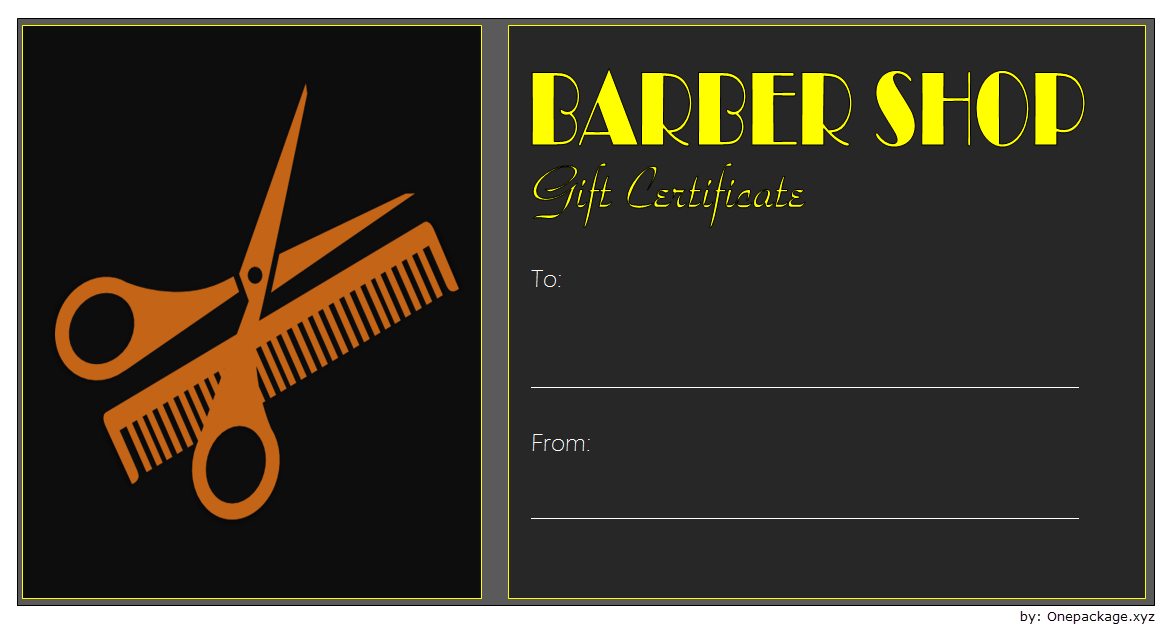 Free Barber Shop Gift Certificate Template 4 Gift Certificate Template Certificate Templates Templates