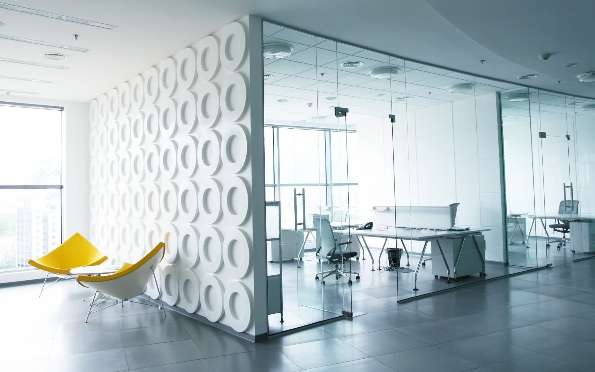 with bright color furniture | Modern office design, Office ...