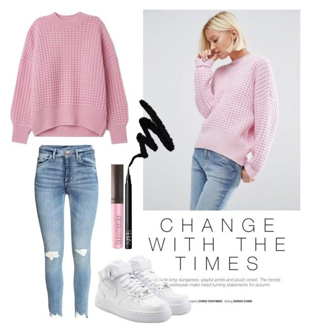 """💅🏻👛🌸"" by alexx25 ❤ liked on Polyvore featuring NIKE, Laura Mercier, NARS Cosmetics, Pink, Sweater and jumper"