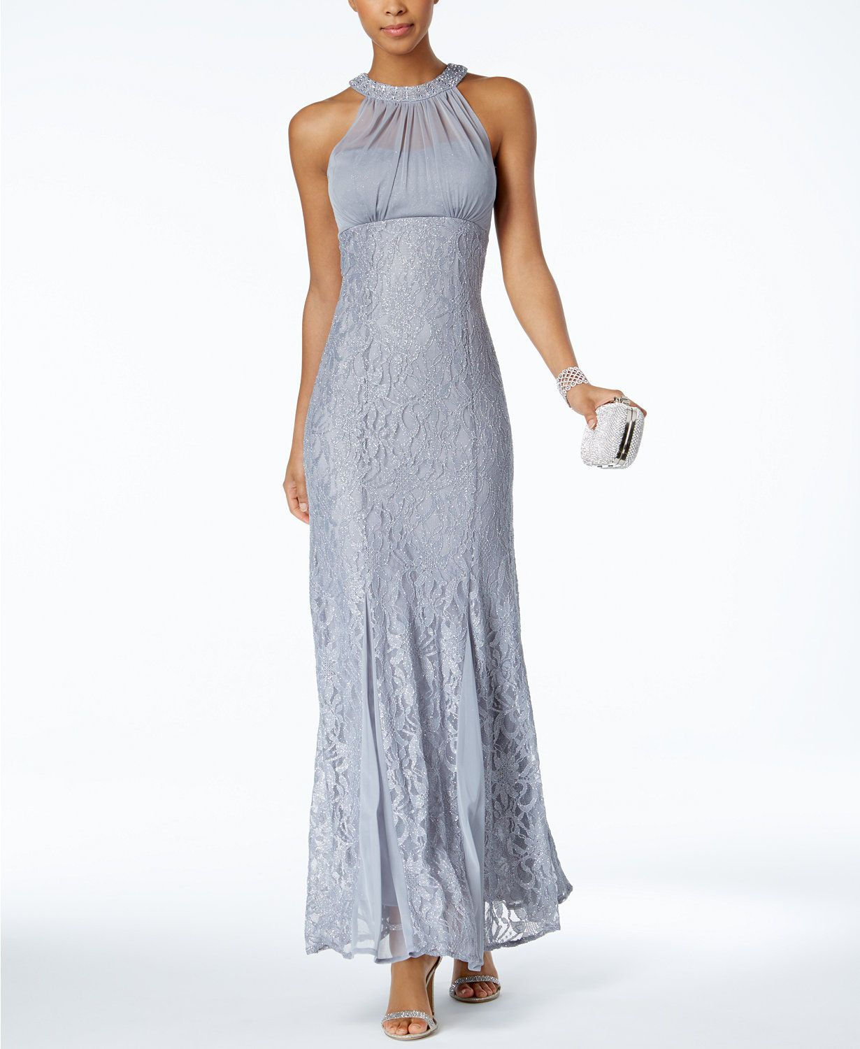 56034c2571f Nightway Illusion Glitter Lace Empire-Waist Gown