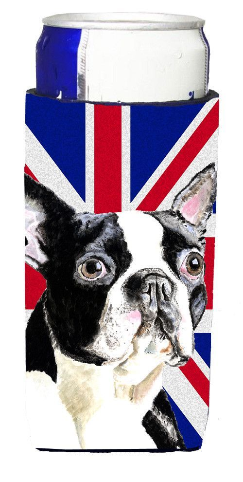 Boston Terrier With English Union Jack British Flag Ultra Beverage  Insulators For Slim Cans SC9816MUK