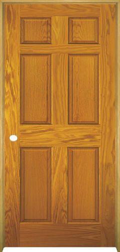 Mastercraft 32 X 80 Prefinished Golden Oak 6 Panel Int Door Rh At Menards