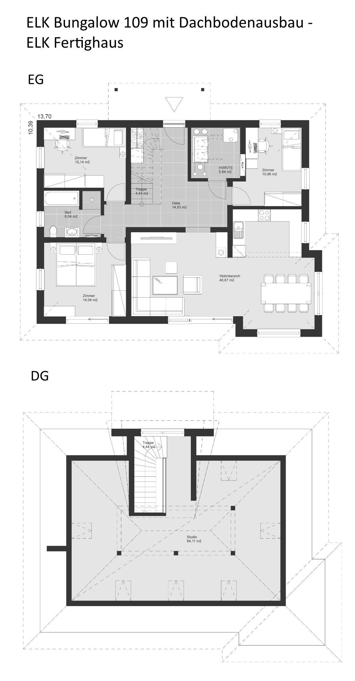 Grundriss Bungalow Haus mit Dachausbau & Walmdach