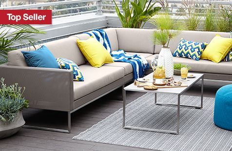 crate and barrel outdoor furniture. Dune 3-Piece Sectional Sofa With Sunbrella® Taupe Cushions In Outdoor Sectionals | Crate And Barrel Interior Design Inspiration Pinterest Dune, Furniture