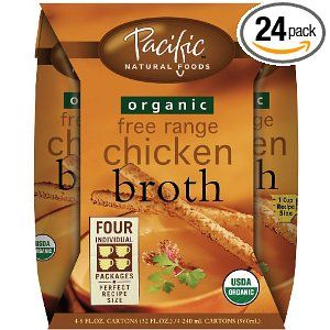 Love these. Conveniently Sized pouches.  Pacific Natural Foods Organic Free Range Chicken Broth, 8-Ounce Pouches (Pack of 24)
